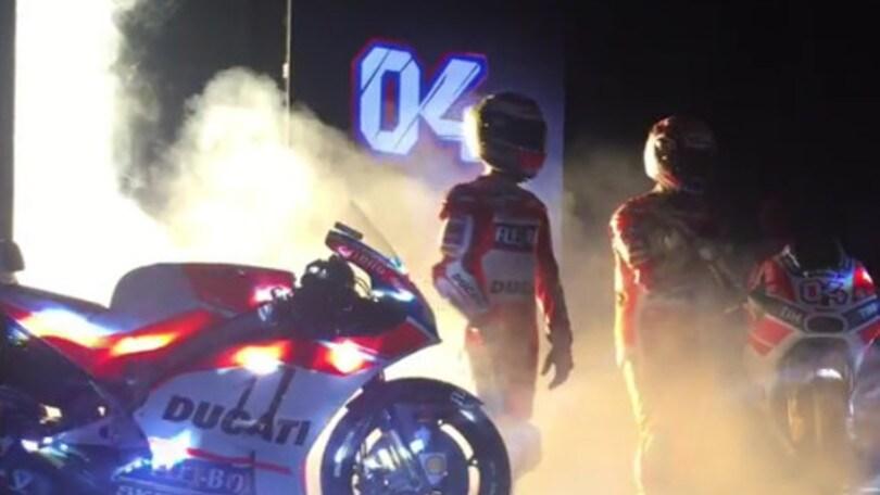MotoGp: Lorenzo e Dovizioso presentano la nuova Ducati