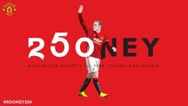Rooney fa lo storia con lo United: 250 gol