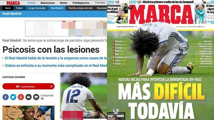 Real Madrid, psicosi infortuni: Modric, 10 giorni stop. Marcelo salta il Napoli