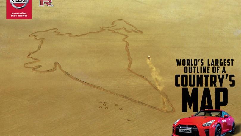 L'arte del traverso: Nissan GT-R disegna la mappa da Guinness