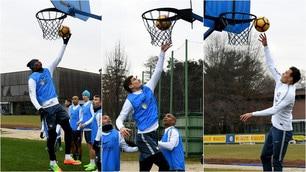 """L'Inter """"si dà al basket"""": esercizi a canestro ad Appiano"""
