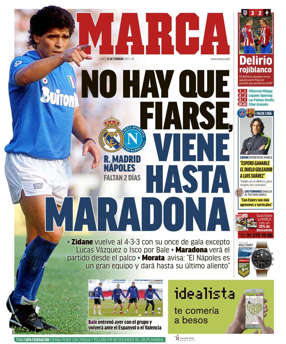"""Champions League, media spagnoli: """"Non c'è da fidarsi, c'è pure Maradona"""""""