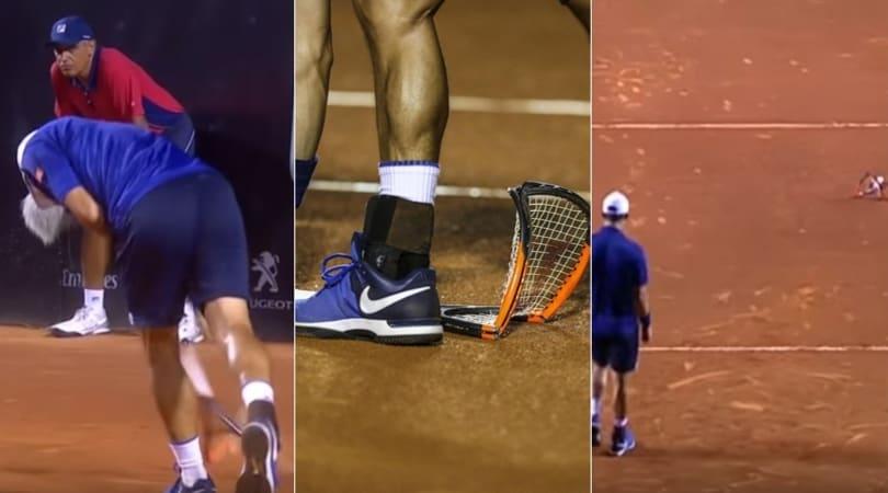 Tennis, Rio Open 2017: Nishikori infuriato spacca la racchetta