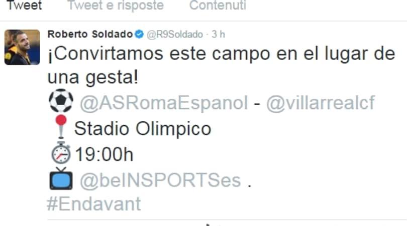 Villarreal, gaffe social per Soldado: confonde l'Olimpico con il nuovo stadio della Roma