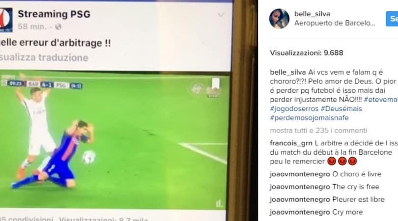 Psg, la moglie di Thiago Silva attacca l'arbitro: «Il migliore del Barcellona»
