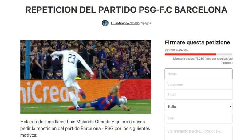 «Barcellona-Psg da ripetere», oltre 200mila firme per la petizione online