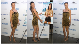 Adriana Lima, gonna cortissima e gambe lunghissime a Miami