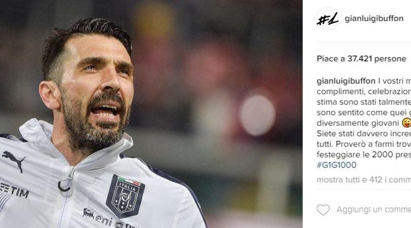 Recordman Buffon scherza su Instagram:«Pronto per le 2000 presenze»