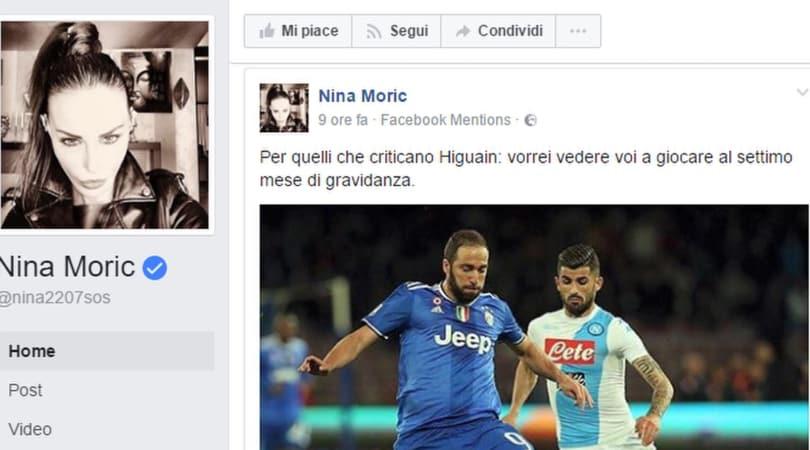 Nina Moric su Napoli-Juve: un post scatena la bufera