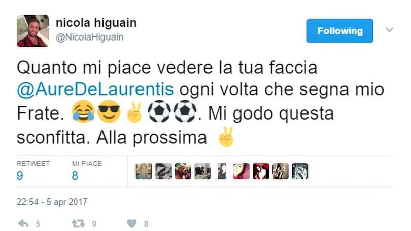 Nicola Higuain: «Quanto godo, De Laurentiis»