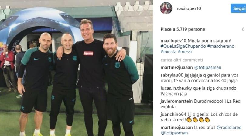 Maxi Lopez in posa con Messi e Mascherano: messaggio per Icardi