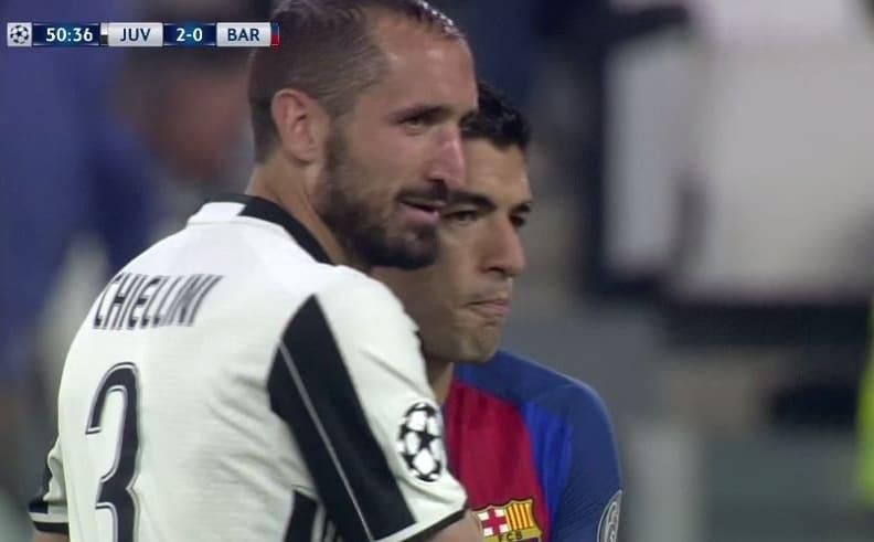 """Juventus-Barcellona, Chiellini: gol e """"pace"""" con Suarez"""
