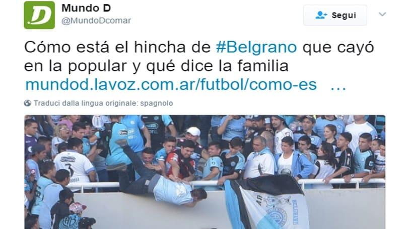Gli ultrà buttano giù dalla tribuna un tifoso in Argentina