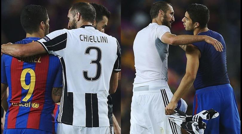 Barcellona-Juventus, Chiellini e Suarez si scambiano la maglia