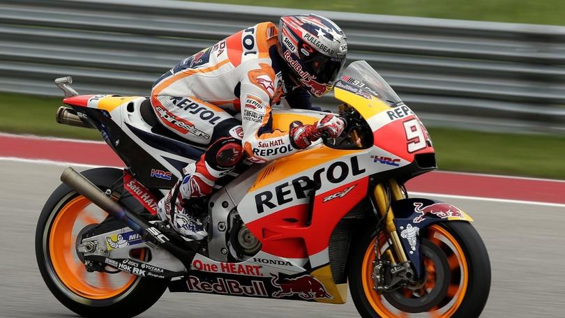 MotoGp Usa, Marquez si prende anche il warm up, Rossi 4°