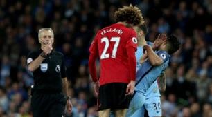 City-United 0-0, Fellaini: testata ad Aguero e rosso diretto