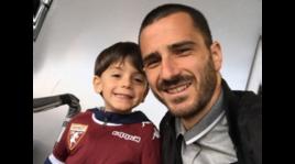 Torino-Sampdoria, Bonucci all'Olimpico con il figlio Lorenzo