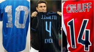 Da Cruyff a Maradona: ecco le maglie dei grandi campioni ritirate