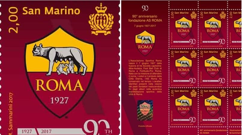 A San Marino un francobollo per i 90 anni della Roma