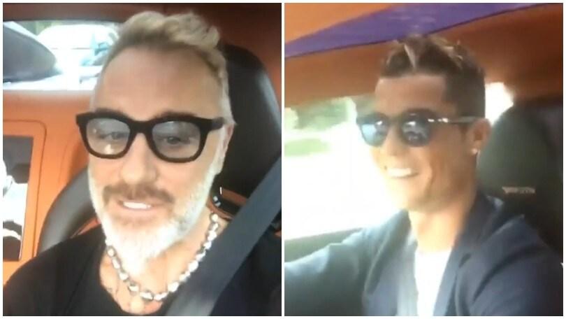 Gianluca Vacchi e Cristiano Ronaldo in giro per Madrid sulla Bugatti Veyron