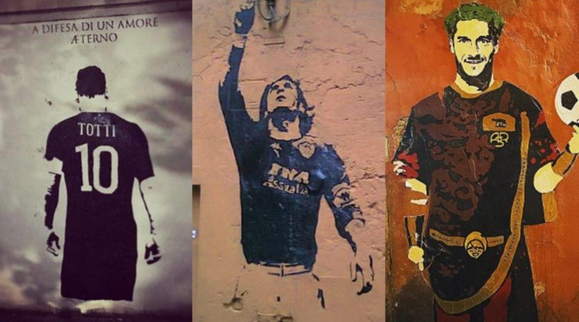 Quando la passione per l'arte abbraccia l'amore per Totti: dalla Garbatella a piazza del Fico, le opere più belle degli ultimi anni