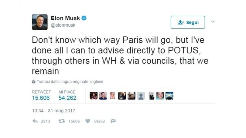 Accordi sul clima, Elon Musk è pronto a lasciare Trump