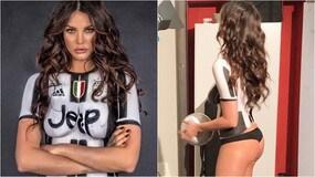 Margot Ovani, body painting juventino nella notte di Champions