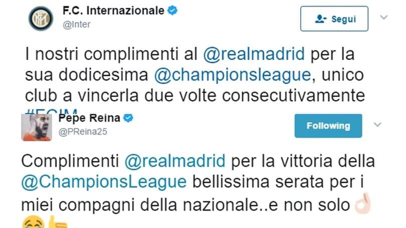 Champions League, l'Inter e Reina fanno i complimenti al Real Madrid