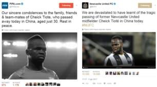 Tioté, il cordoglio del mondo del calcio