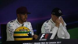 F1, Gp Canada: le foto di Hamilton con il casco di Senna