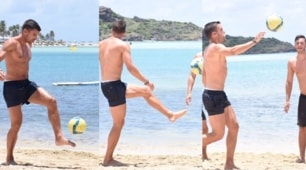 Strootman, palleggi e no-look in riva al mare