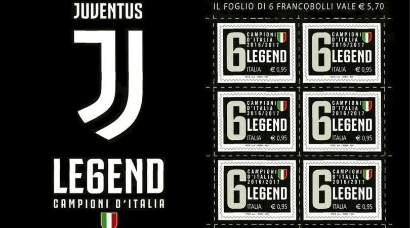 Scudetto, ecco il francobollo Juventus ''Legend''