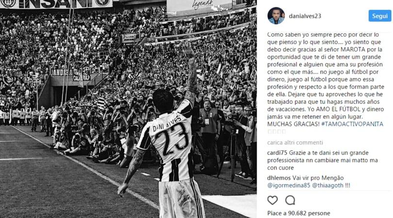Dani Alves saluta la Juve e punge Marotta: «Non gioco per soldi»