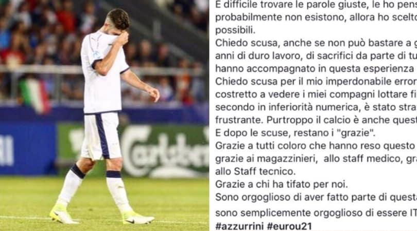 Under 21, Gagliardini chiede scusa per il rosso: «Imperdonabile»