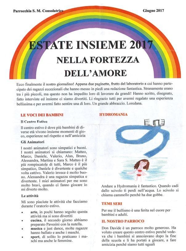 Oratorio Estivo 2017 - «ESTATE INSIEME» - Parrocchia S. M. Consolatrice