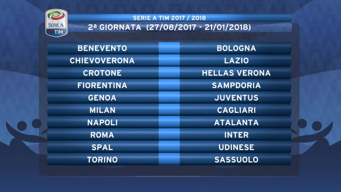 Calendario Calcio Seria A.Calendario Serie A 2017 18 Tutte Le Giornate Corriere