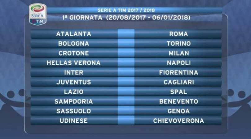 Serie A Tim Calendario.Diretta Calendario Serie A 2017 18 Tempo Reale Dalle 19