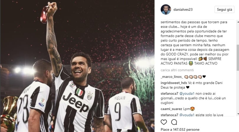Dani Alves: «Juventus, sentirai la mia mancanza»