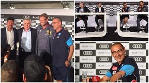 Pantaloncini e polo, Sarri non rinuncia al casual per l'Audi Cup
