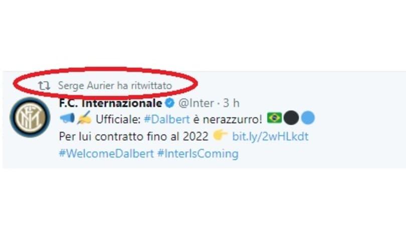 Inter, ufficiale l'acquisto di Dalbert. E Aurier lo retwitta...