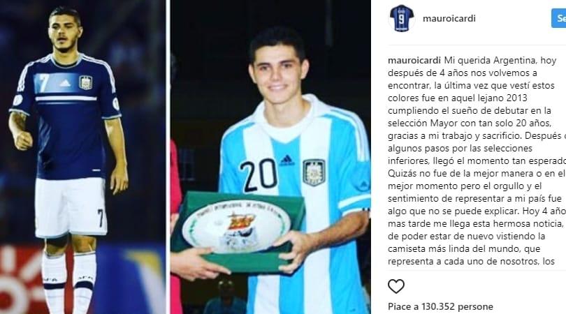 Icardi, lettera d'amore all'Argentina:«Darò tutto per te»