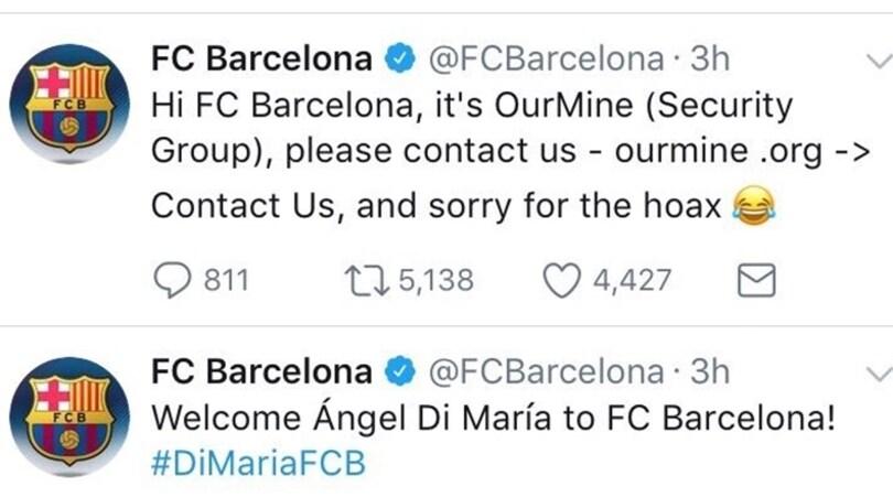 Il Barcellona: «Benvenuto Di Maria!». Ma si tratta di un hacker
