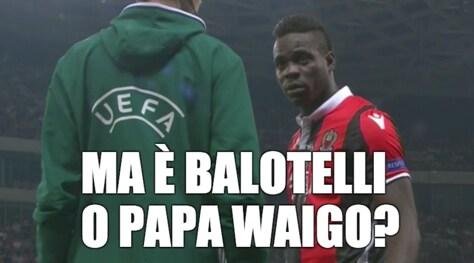 Nizza-Napoli, l'ironia social dei napoletani: «Ma è Balotelli o Papa Waigo?»