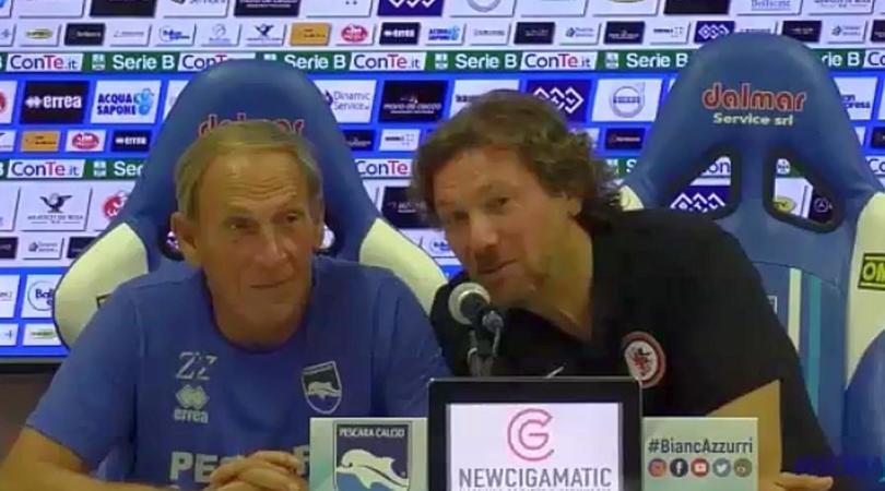 Zeman-Stroppa, la conferenza a due dopo Pescara-Foggia è uno show
