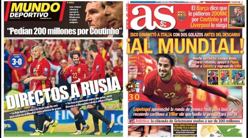 La stampa spagnola esalta Isco: «Italia distrutta»