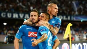 Napoli, i 4 sulla giostra del gol: lo show è servito
