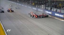 Gp Singapore: scontro con Verstappen, Vettel-Raikkonen out