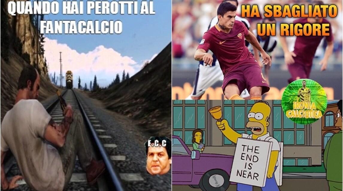 L'attaccante argentino fallisce il primo penalty con la maglia della Roma e il web, soprattutto i fantallenatori, si scatenano