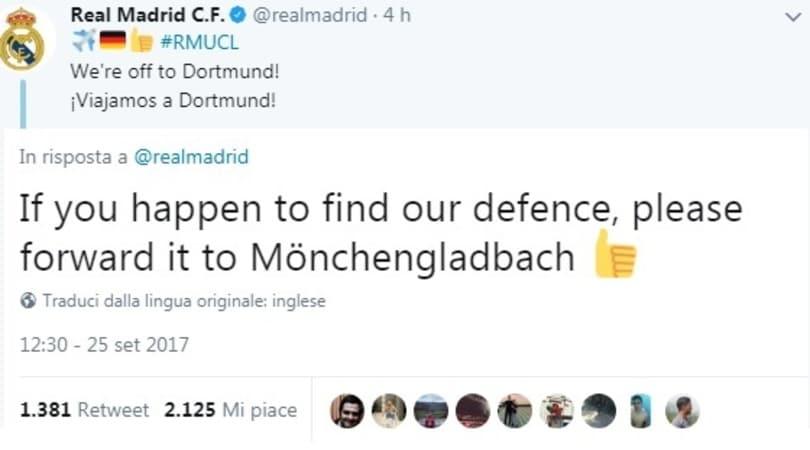 Mönchengladbach, appello autoironico al Real Madrid: «Se trovate la nostra difesa...»