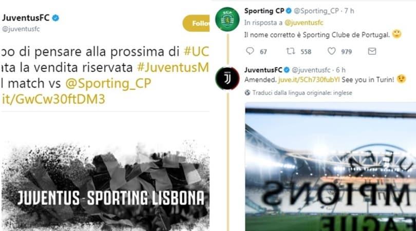 La Juve sbaglia nome e fa arrabbiare lo Sporting...